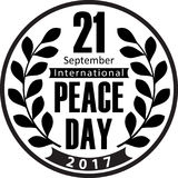 2017 World Peace Day black design with olive wreath.  Royalty Free Stock Photo