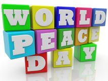 World Peace Day concept on colorful cubes.3d illustration. In backgrounds Royalty Free Stock Photo