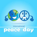 World Peace Day Hippie Sign With Earth International Holiday Poster Royalty Free Stock Photos
