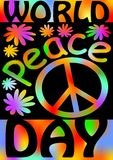 World Peace day with international symbol of peace, disarmament, anti-war movement. Grunge street art design in hippies rainbow co Stock Image