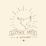 World Peace Day Poster Sketch Dove Bird Symbol Stock Image