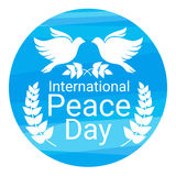 World Peace Day Poster White Dove Bird Couple Symbol. Flat Vector Illustration Stock Images