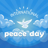 World Peace Day Poster White Dove Bird Fly In Sky Royalty Free Stock Image