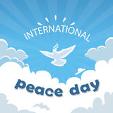 World Peace Day Poster White Dove Bird Fly In Sky Royalty Free Stock Photo