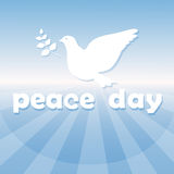 World Peace Day Poster White Dove Bird Symbol. Flat Vector Illustration Stock Photography