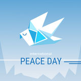 World Peace Day Poster White Origami Dove Bird Stock Photos