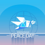 World Peace Day Poster White Origami Dove Bird Royalty Free Stock Image