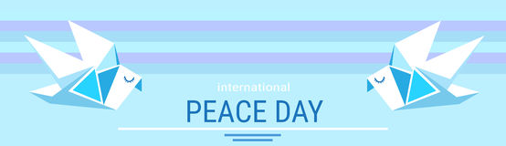 World Peace Day Poster White Origamini Dove Bird Royalty Free Stock Images