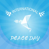 World Peace Day Poster White Origamini Dove Bird Stock Image