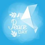 World Peace Day Poster White Origamini Dove Bird Royalty Free Stock Image