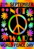 World peace day, 21th September, colorful rainbow flyer template, poster with flowers and anti-war retro motif of hippies movement. Vector eps10 Stock Photography