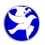 World Peace Dove. A vector illustration of a peace dove and the world globe Royalty Free Stock Image
