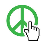 World peace green sign with cursor hand  icon Stock Images