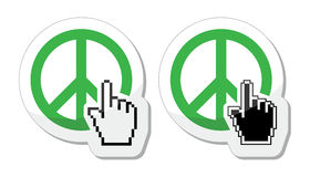 World peace green sign with cursor hand  icon Royalty Free Stock Photo