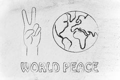 World peace and happiness, hands making peace sign and globe. Globe and hands making peace sign: world peace, respect and happiness Royalty Free Stock Images
