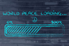World peace loading, progess bar illustration. A better word: progress bar metaphorically loading world peace Stock Image