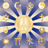 World Peace, Many Faiths. Icons of 12 world religions surrounding the International Symbol of Peace on a blue and gold background: Buddhism, Islam, Hinduism Stock Image
