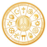 World Peace, Many Faiths. International Symbol of Peace with world religions: Buddhism, Islam, Hinduism, Taoism, Christianity, Sikhism, Judaism, Confucianism Royalty Free Stock Photography