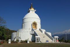 World Peace Pagoda in Pokhara Nepal Stock Photo