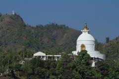 World Peace Pagoda in Pokhara Nepal Stock Photo