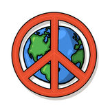 World peace symbol. Planet earth illustration and peace sign; World peace drawing Stock Photography