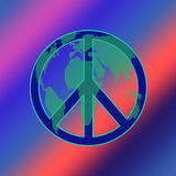 World Peace TIE DYE. Peace symbol layered with a map of the world Royalty Free Stock Photo