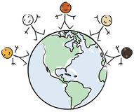 World Peace vector. Multicultural smiling children from around the world standing on planet earth + vector eps file Royalty Free Stock Photo