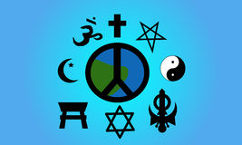 World Peace. Vector Illustration of earth in the form of a peace symbol. A variety of religious symbols circle it stock illustration