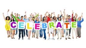 World People Holding Word Celebrate.  Royalty Free Stock Photos