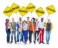 World People Holding Yellow Sign Poles Stock Image