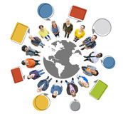 World People Looking Up with Speech Bubbles Stock Images
