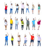 World People Standing and Celebrating Royalty Free Stock Images