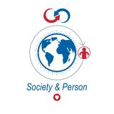 World and Person creative logo, unique  symbol created wit. H different icons. System and social Matrix sign. Person and humankind interacts with each other Royalty Free Stock Images