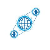 World and Person creative logo, unique vector symbol created wit. H different icons. System and social Matrix sign. Person and humankind interacts with each Stock Photo