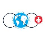 World and Person creative logo, unique vector symbol created wit. H different icons. System and social Matrix sign. Person and humankind interacts with each Royalty Free Stock Image