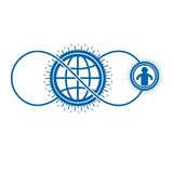 World and Person creative logo, unique vector symbol created wit. H different icons. System and social Matrix sign. Person and humankind interacts with each Royalty Free Stock Images