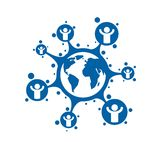 World and Person creative logo, unique vector symbol created wit. H different icons. System and social Matrix sign. Person and humankind interacts with each Royalty Free Stock Photos
