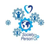 World and Person creative logo, unique vector symbol created wit Stock Photo