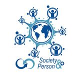 World and Person creative logo, unique vector symbol created wit Stock Photos