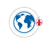 World and Person creative logo, unique vector symbol created wit. H different icons. System and social Matrix sign. Person and humankind interacts with each Stock Photos