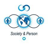 World and Person creative logo, unique vector symbol created wit. H different icons. System and social Matrix sign. Person and humankind interacts with each Stock Image