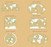 World perspective. World perspective with six differents worlds map Royalty Free Stock Images