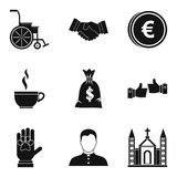 World philanthropy icons set, simple style Royalty Free Stock Photography