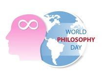 World Philosophy Day Background. Human on world logo Stock Image