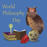 World Philosophy Day. Vector illustration of the worldwide celebrated united nations day. Owl sitting on skull with book open Stock Photo