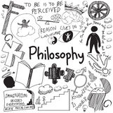 World philosophy and religion doctrine handwriting doodle sketch. Design subject sign and symbol in white isolated background paper for education subject Royalty Free Stock Photos