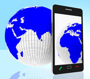 World Phone Indicates Web Site And Cellphone Royalty Free Stock Images