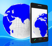 World Phone Represents Web Site And Cellphone Royalty Free Stock Images