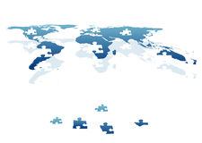 World in pieces as jigsaw bricks Royalty Free Stock Photo