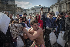 World Pillow Fight Day London. 2013 stock photography